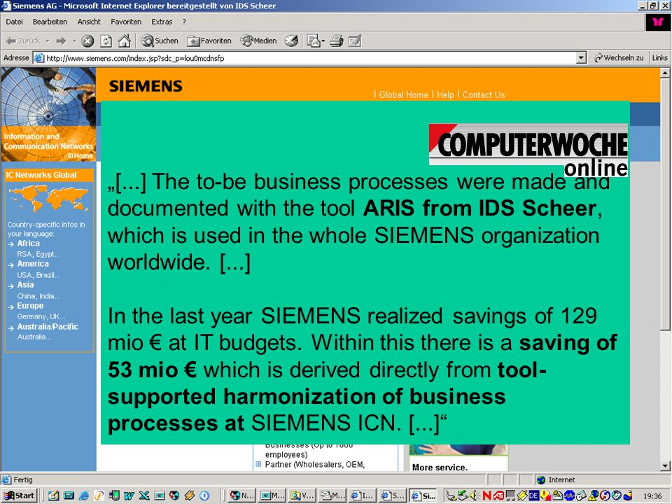"""[...] The to-be business processes were made and documented with the tool ARIS from IDS Scheer, which is used in the whole SIEMENS organization worldwide. [...]"